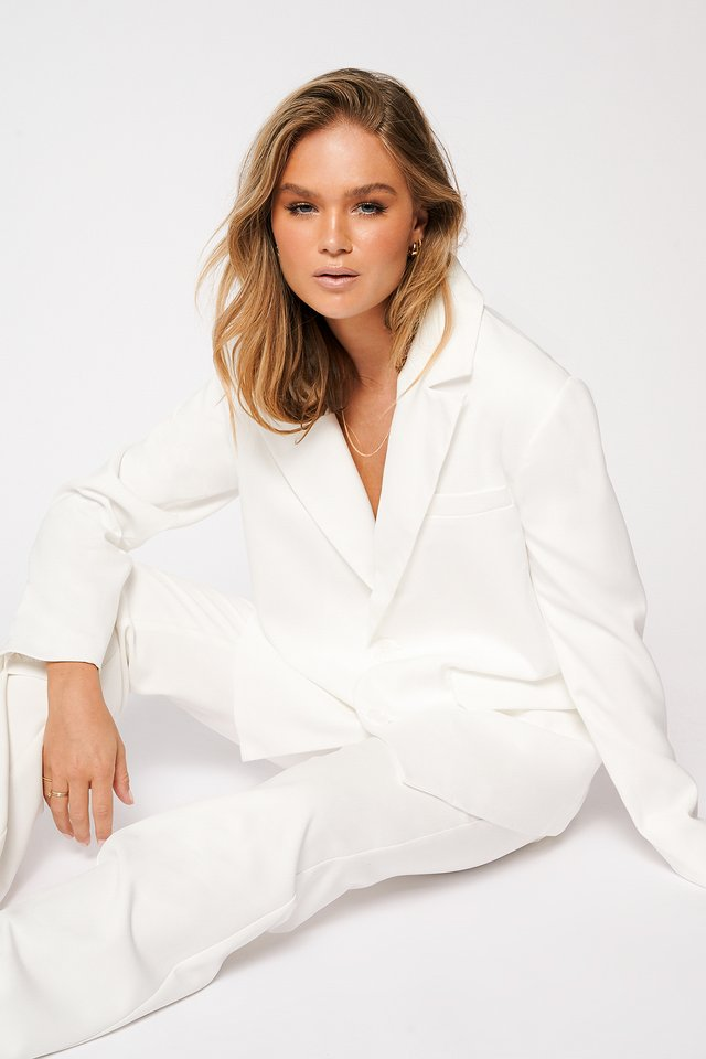 Oversized Straight Blazer White