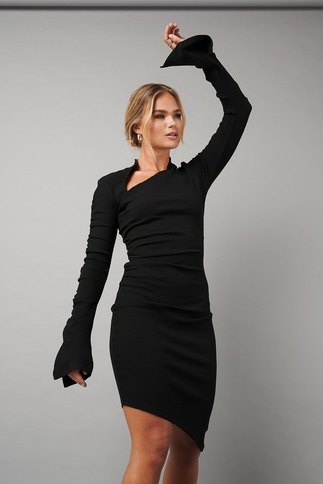 Draped Asymmetric Ribbed Dress Black