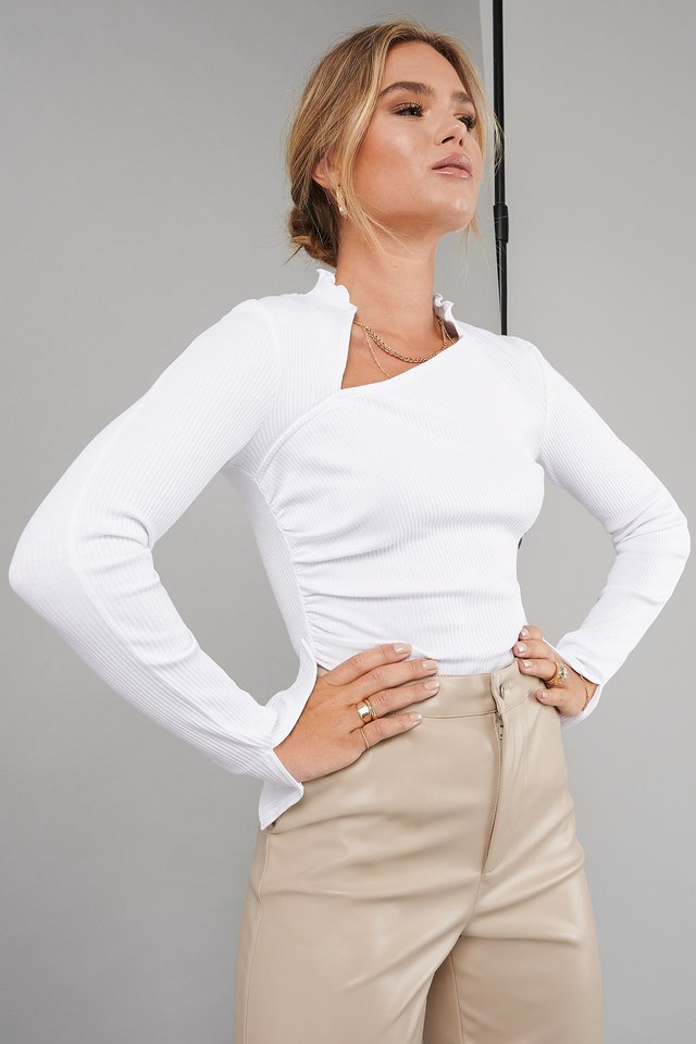 Draped Ribbed Top White