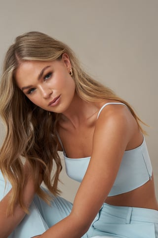 Light Blue Bandeau-Top