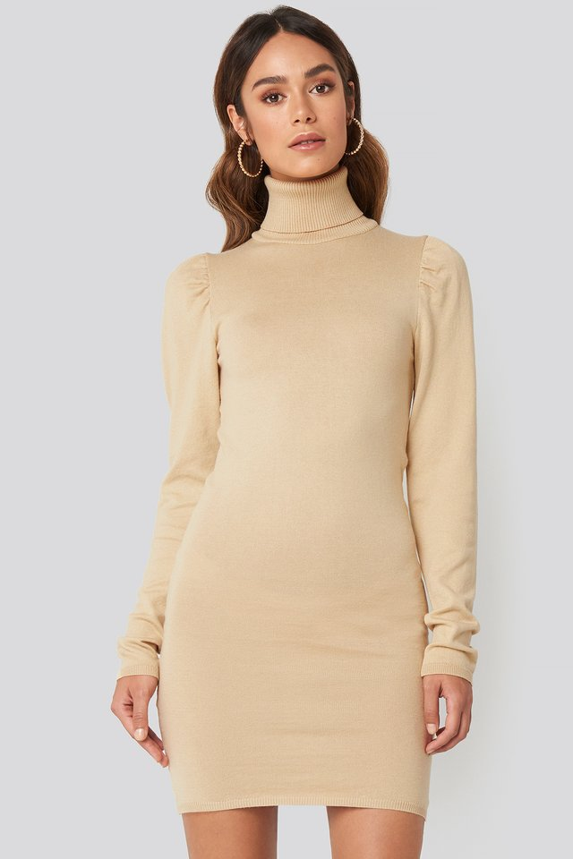 High Neck Puffy Shoulder Dress Beige
