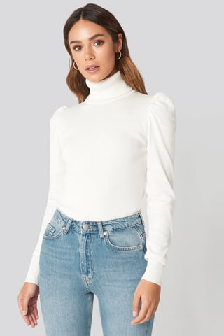 White High Neck Puffy Shoulder Sweater
