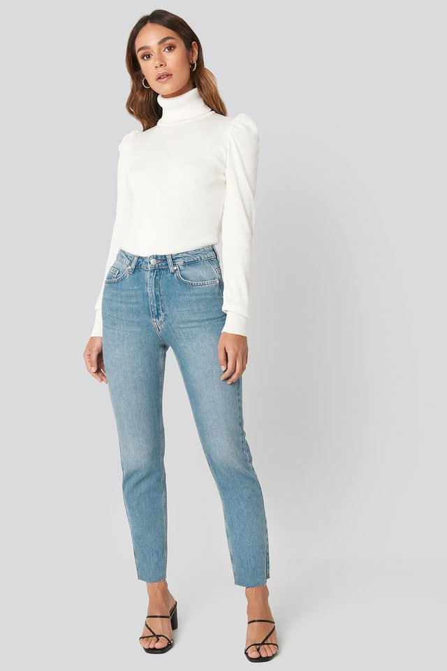 High Rise Straight Cut Jeans Blue