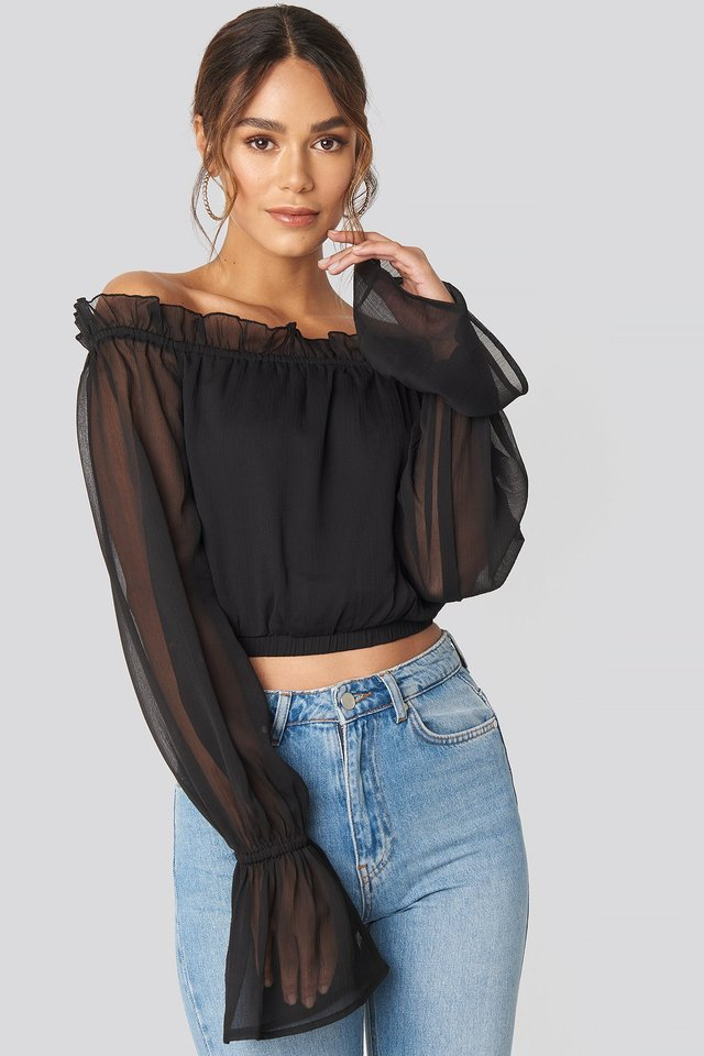 Off Shoulder Frill Neck Blouse Black