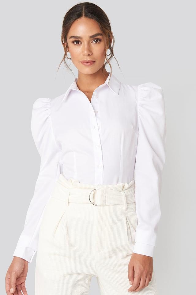 Puffy Shoulder Shirt White