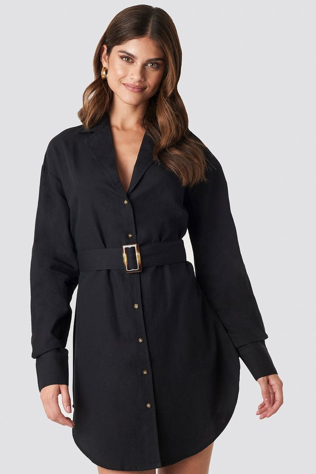 Belted Oversized Linen Look Shirt Dress Black