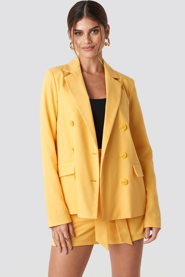 Double Breasted Straight Blazer Yellow