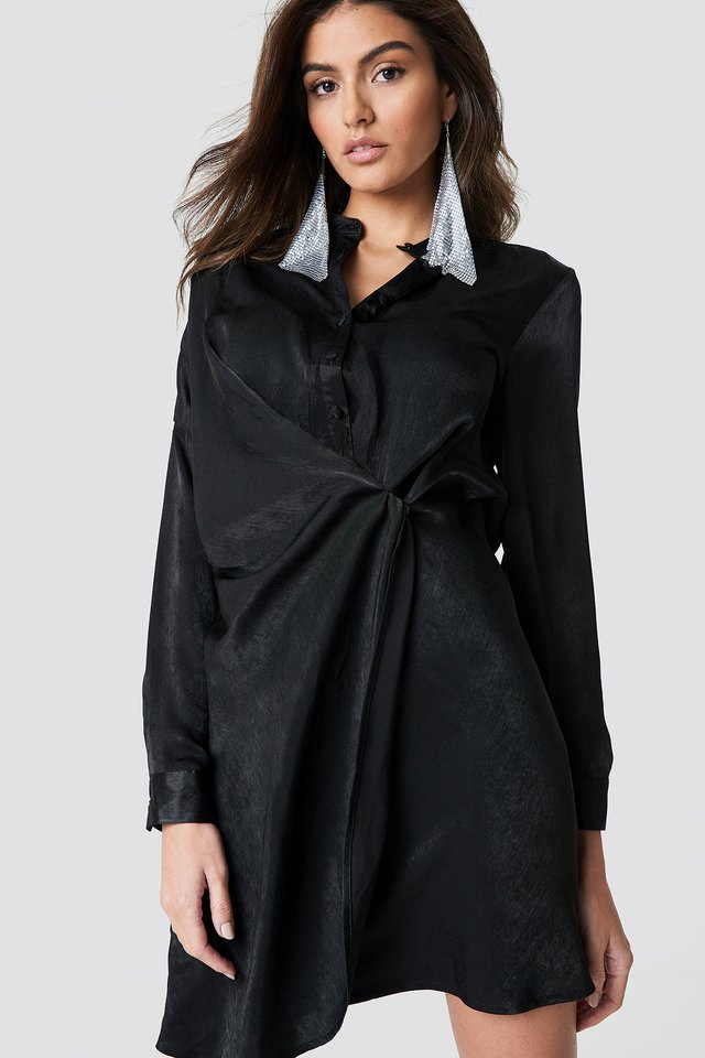 Black Draped Shirt Dress