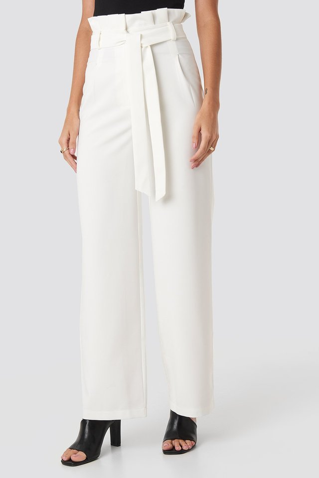 Highwaisted Tied Belt Pants White