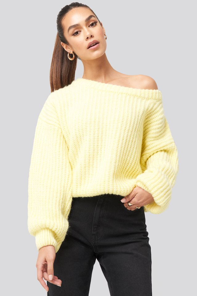 Dusty Light Yellow Chunky Knitted Off Shoulder Sweater