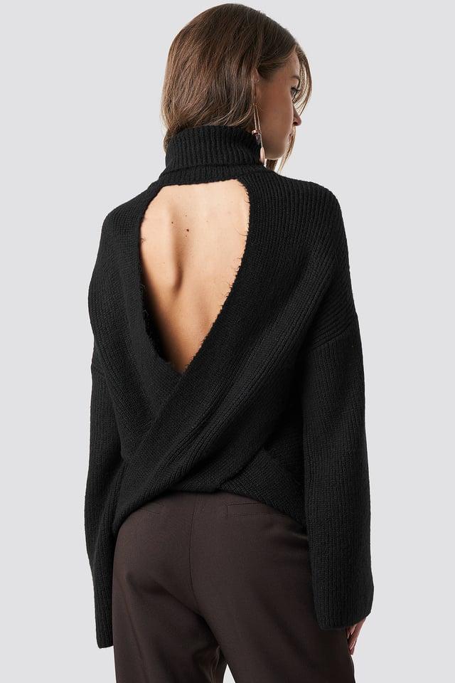 Open Back Overlap Sweater Black