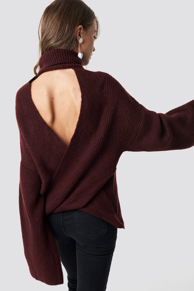 Burgundy Open Back Overlap Sweater