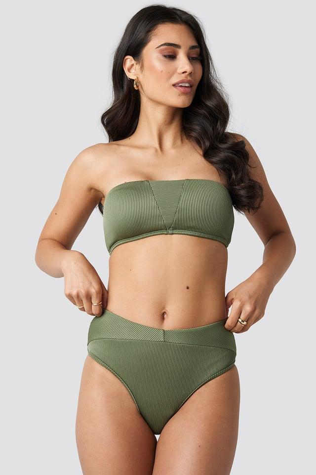Ribbed Folded Bikini Pantie Army Green