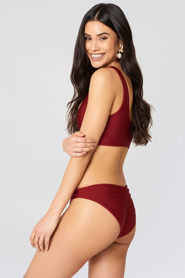 Dark Red Ruched Back Bikini Pantie