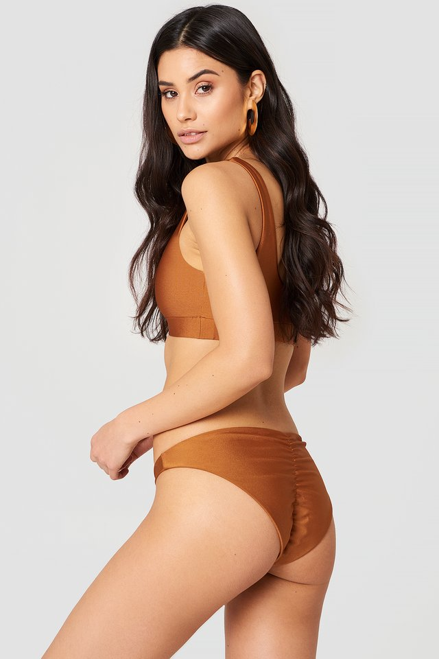 Bronze Ruched Back Bikini Pantie