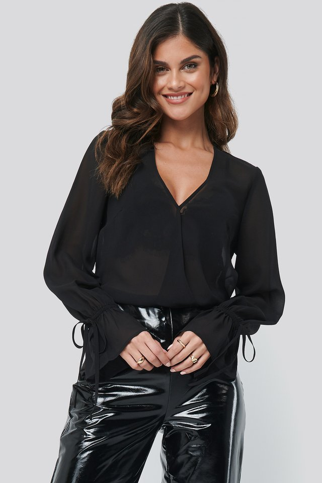 Black Sheer V-Neck Top
