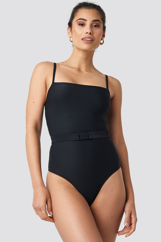 Thin Strap Structured Belted Swimsuit Black