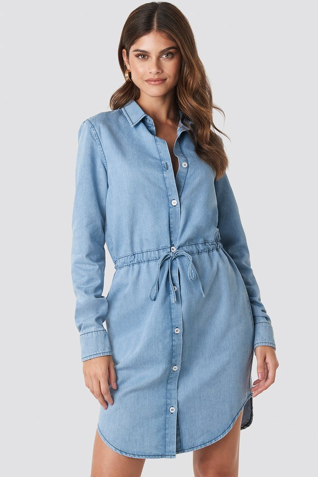 Tied Waist Denim Shirt Dress Light Blue