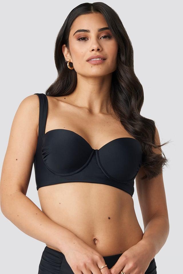 Wide Strap Bikini Top Black