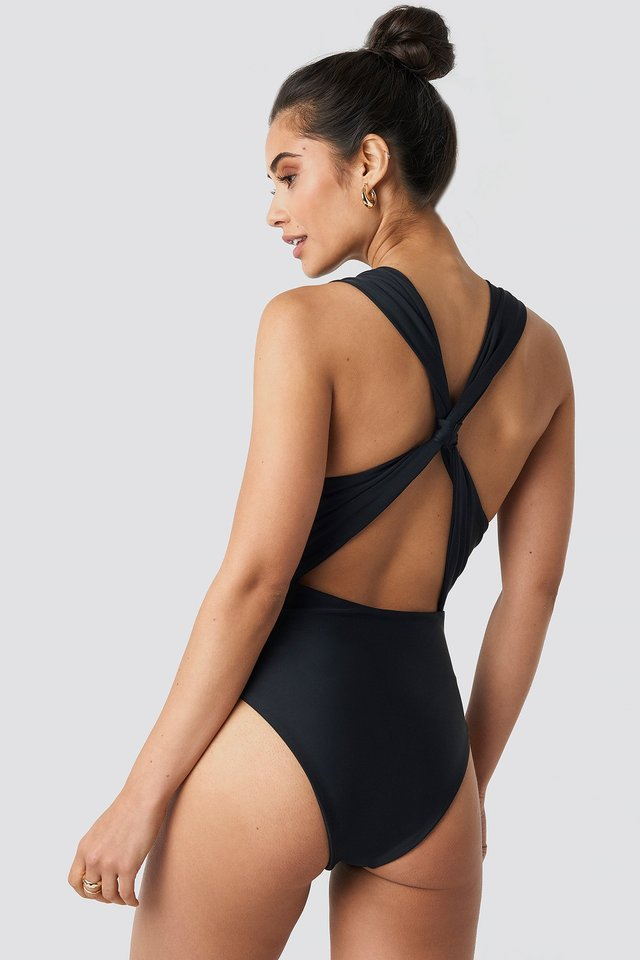 Black Wide Straps Cross Back Swimsuit