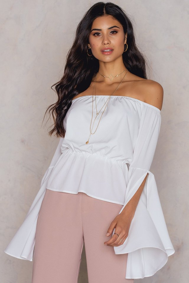 White Off Shoulder Flare Sleeve Top