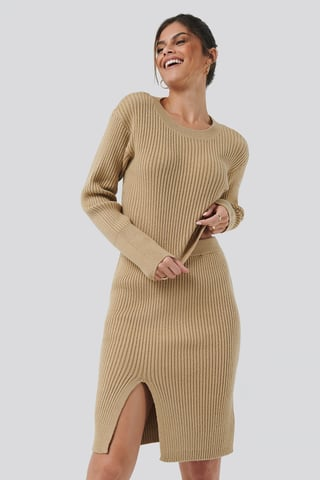 Beige Drop Shoulder Knit