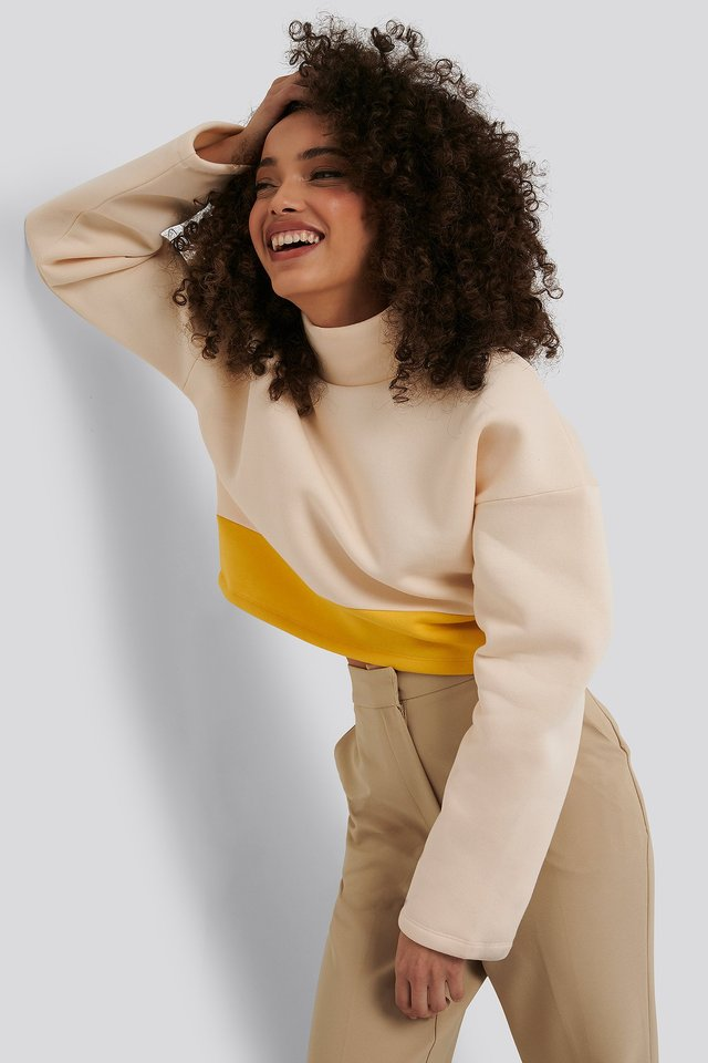 Block Color Sweater White/Yellow