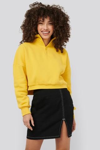 Black Contrast Seam Denim Skirt