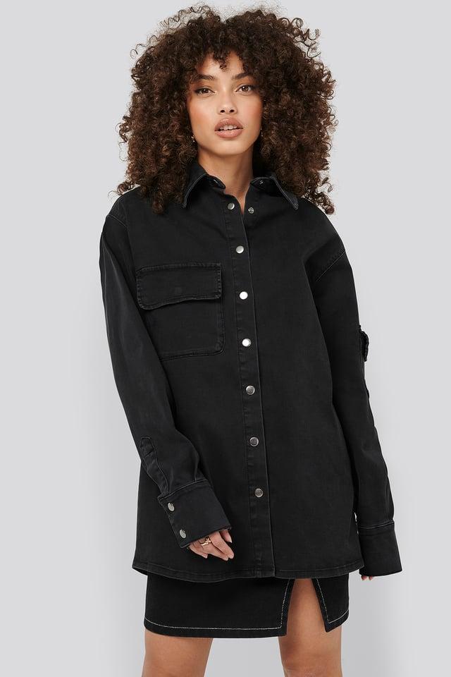 Front Pocket Denim Shirt Black