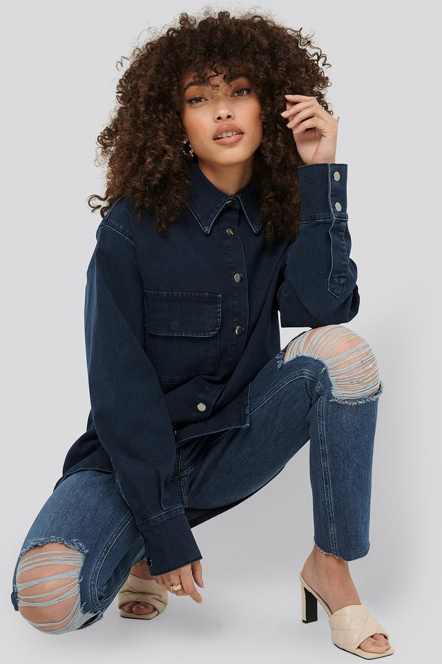 Dark Blue Front Pocket Denim Shirt