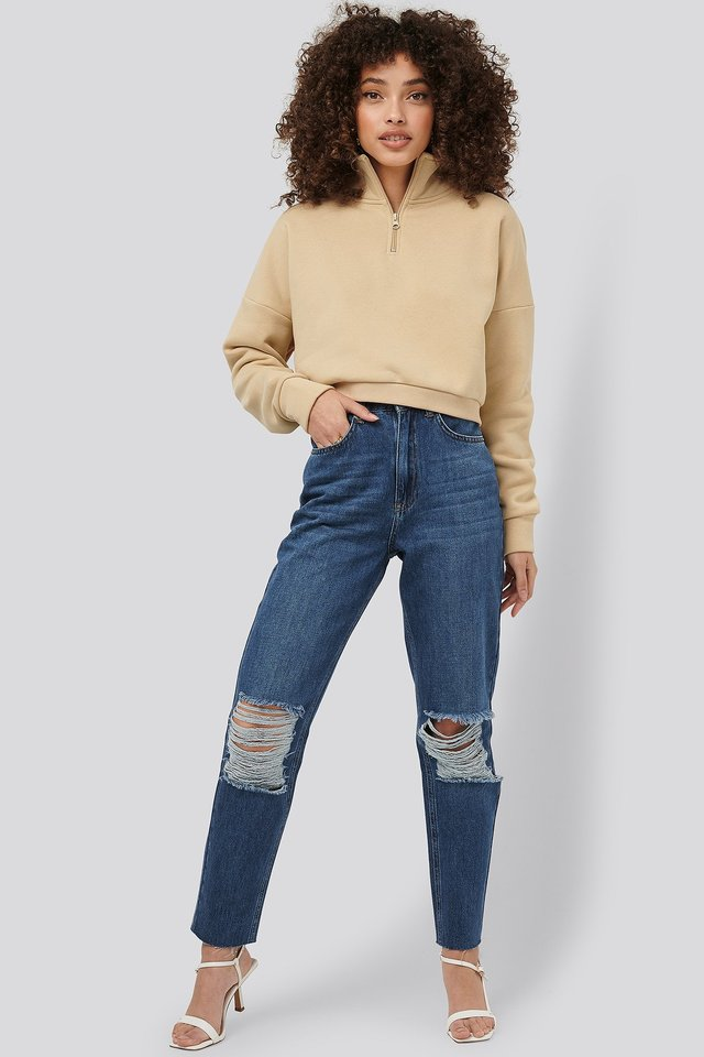 Mid Blue Ripped Knee Mom Fit Jeans