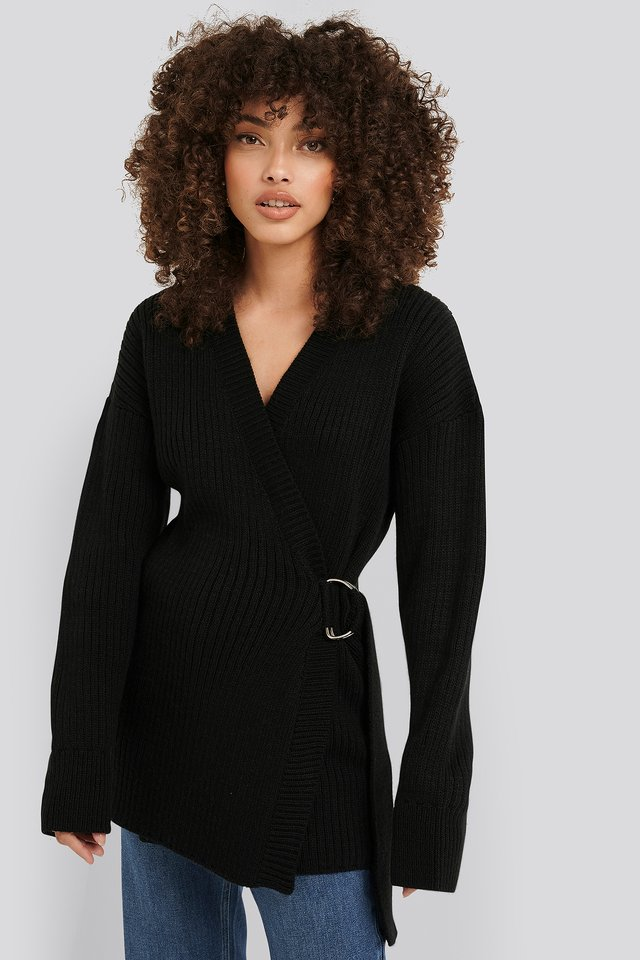 Ribbed Knitted Cardigan Black