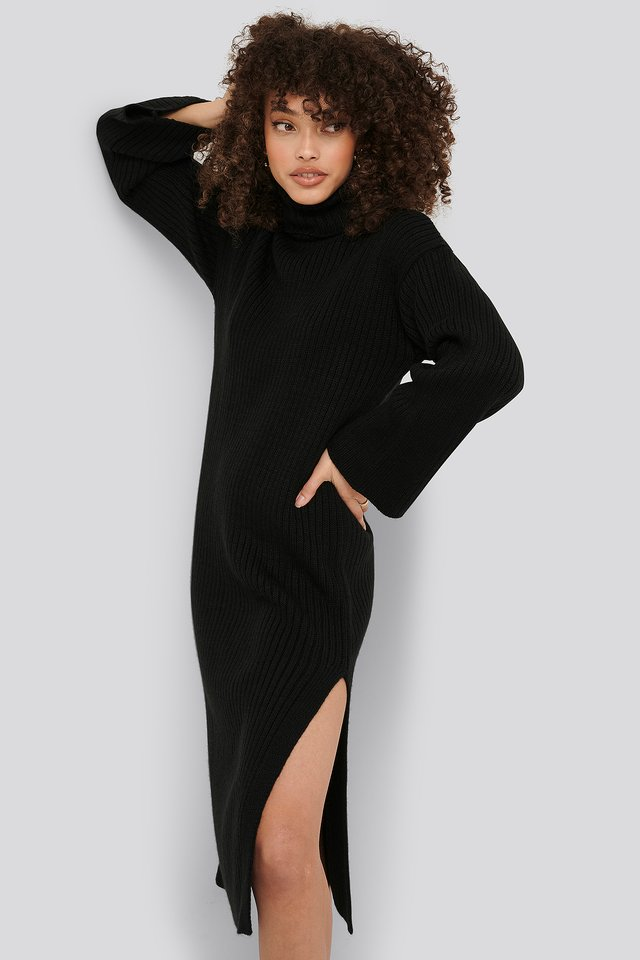 Ribbed Knitted Midi Dress Black
