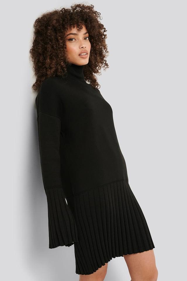 Strikkjole Black