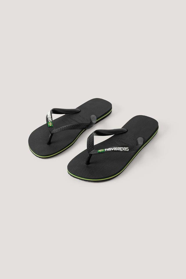 Black Havaianas Brazil Logo Flip Flop