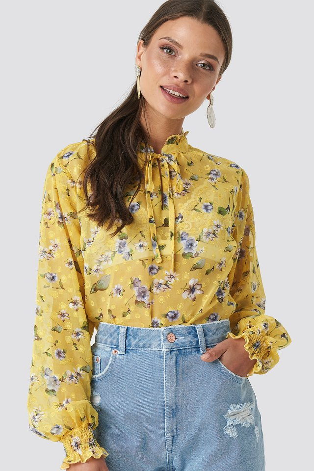 High Frill Neck Print Blouse Yellow