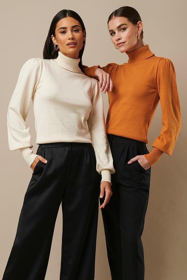 High Neck Puff Sleeve Sweater Creme