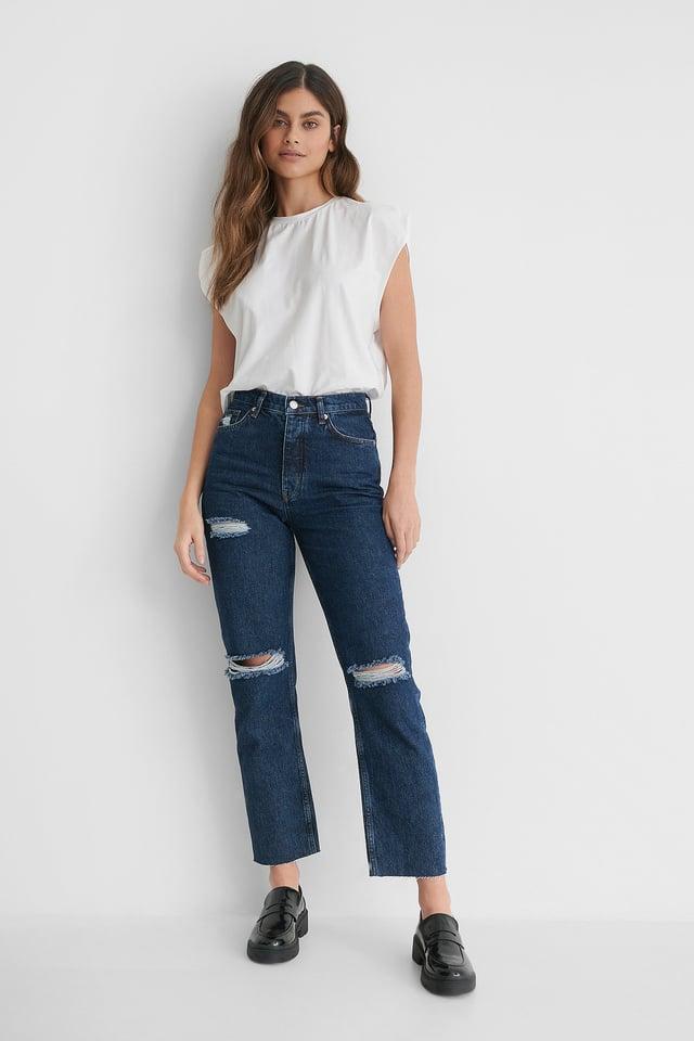 Dark Blue Organic High Waist Ripped Knee Straight Jeans