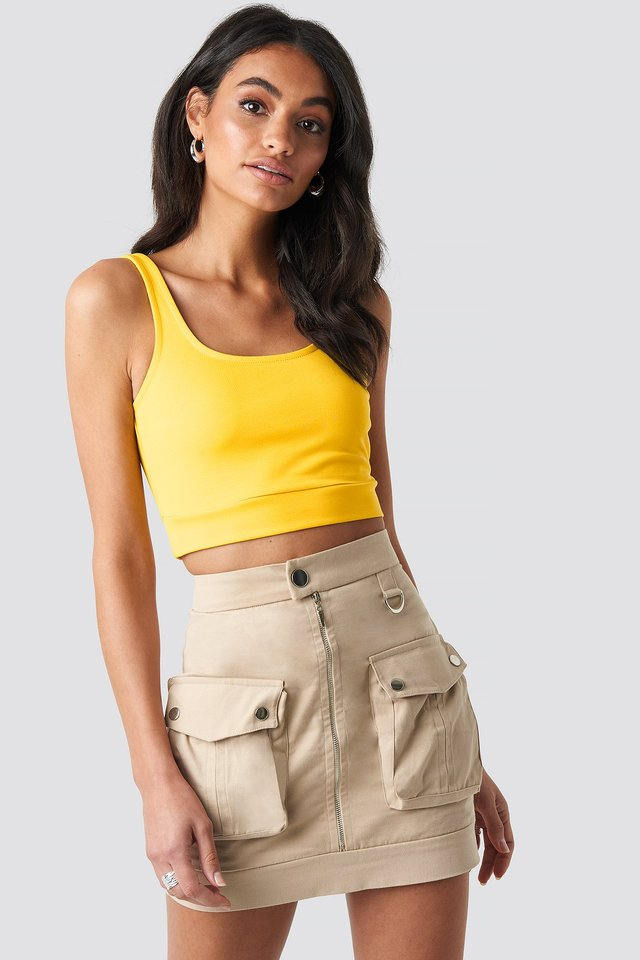Cargo Mini Skirt Beige