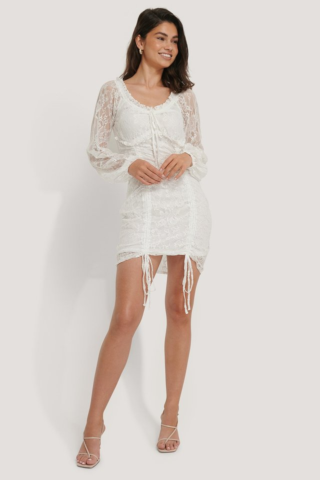 Detailed Lace Dress White