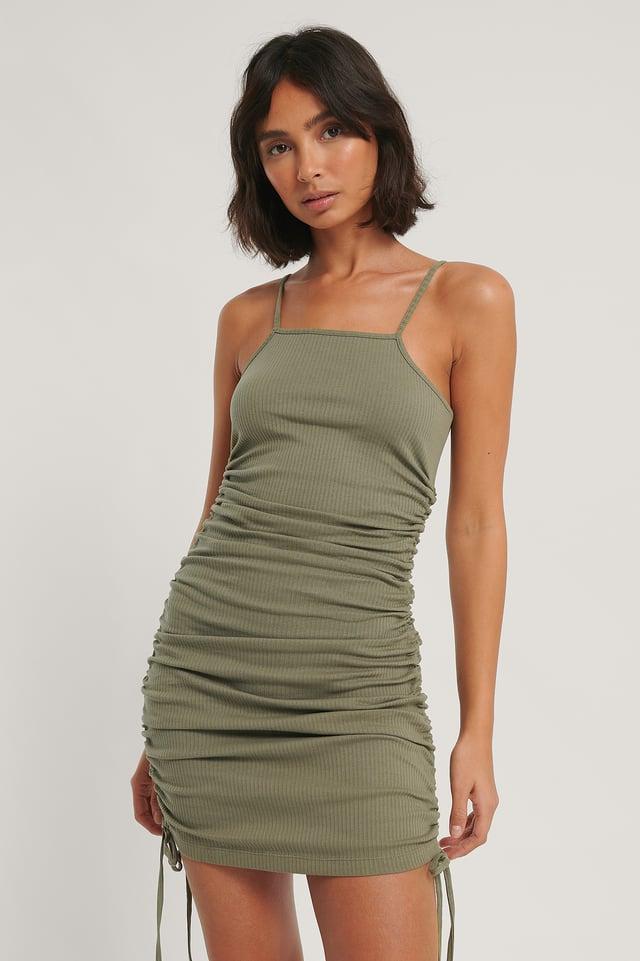 Khaki Drawstring Dress