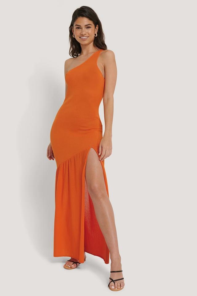High Slit Knitted Dress Burnt Orange