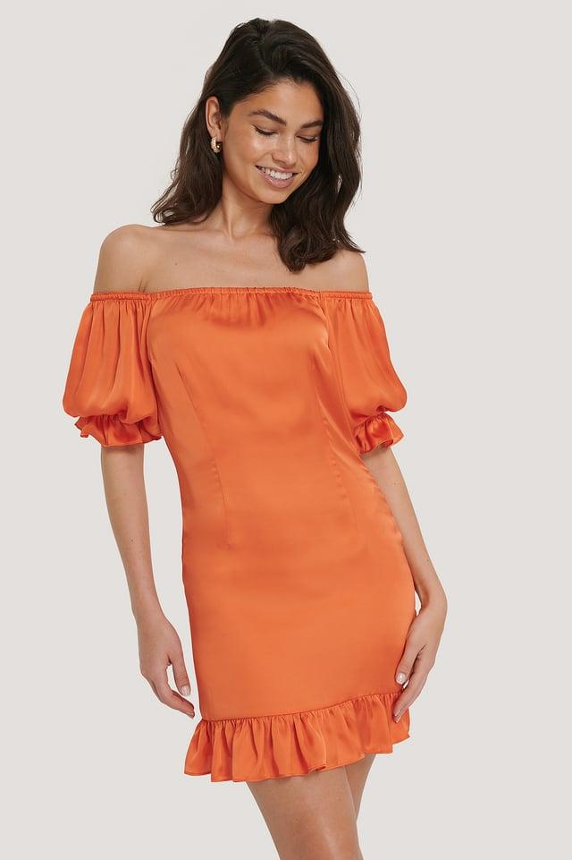 Vestido Palabra De Honor Con Mangas Abombadas Burnt Orange