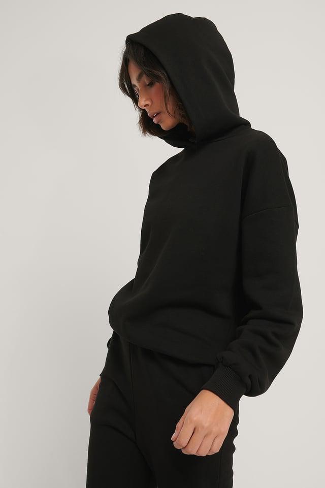 Økologisk Oversize Hættetrøje Black