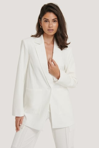 White Gevoerde Oversized Blazer