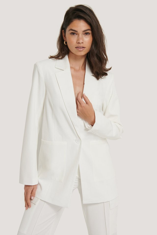 Padded Oversized Blazer White