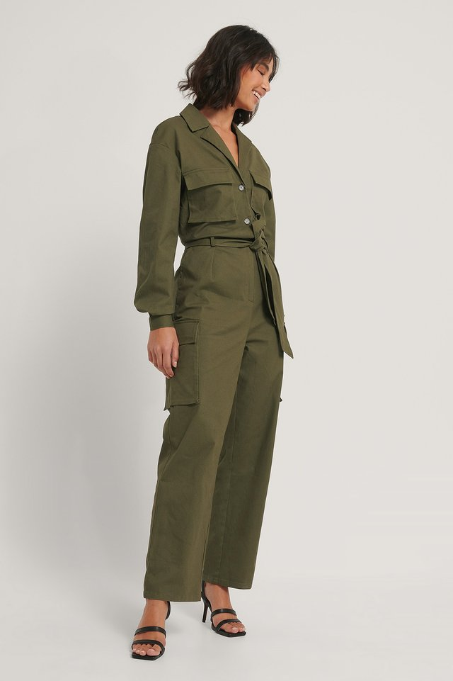 Khaki Green Utility Jumpsuit