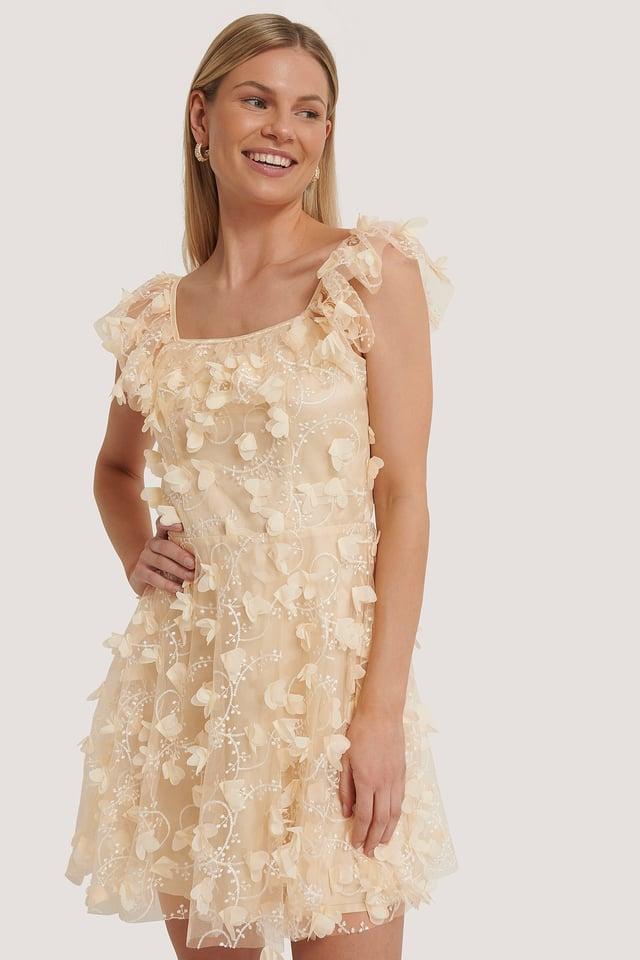 Cream Strukturiertes Kleid