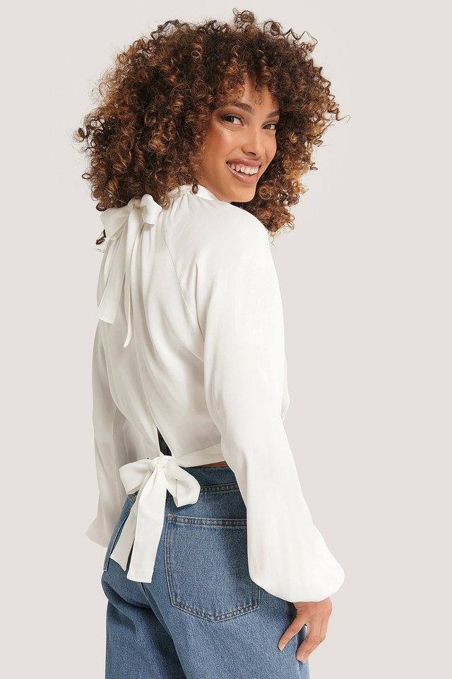 Tie Back Blouse White