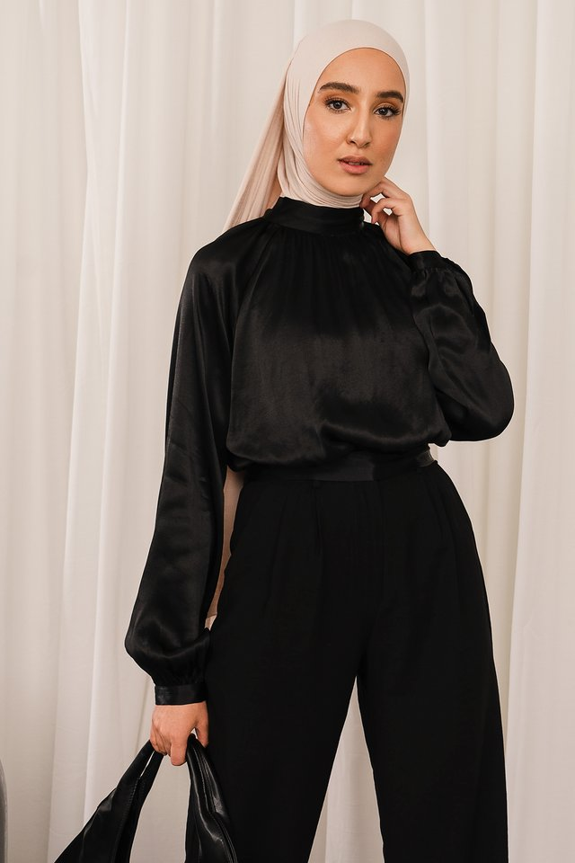 Tie Back Blouse Black